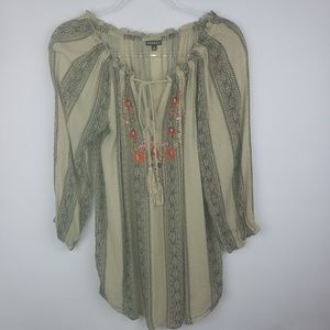 Hannah-Boho style tunic top with embroidery